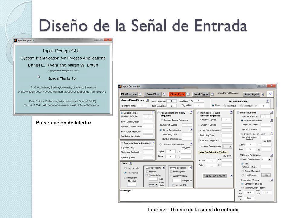 Diseño de la Señal de Entrada Presentación de Interfaz Interfaz – Diseño de la señal de entrada