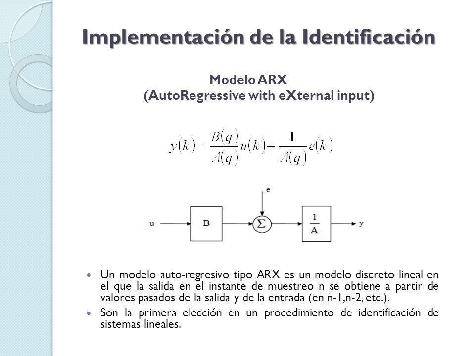 Modelo ARX (AutoRegressive with eXternal input) Implementación de la Identificación Un modelo auto-regresivo tipo ARX es un modelo discreto lineal en el que la salida en el instante de muestreo n se obtiene a partir de valores pasados de la salida y de la entrada (en n-1,n-2, etc.).