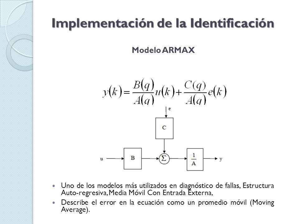 Modelo ARMAX Implementación de la Identificación Uno de los modelos más utilizados en diagnóstico de fallas, Estructura Auto-regresiva, Media Móvil Con Entrada Externa, Describe el error en la ecuación como un promedio móvil (Moving Average).