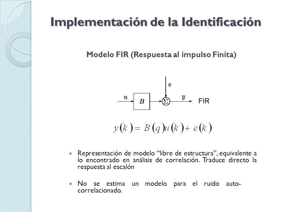Modelo OE (Output Error) Implementación de la Identificación Parametriza independientemente la entrada y el ruido, sin embargo no se obtiene un modelo de ruido auto- correlacionado.