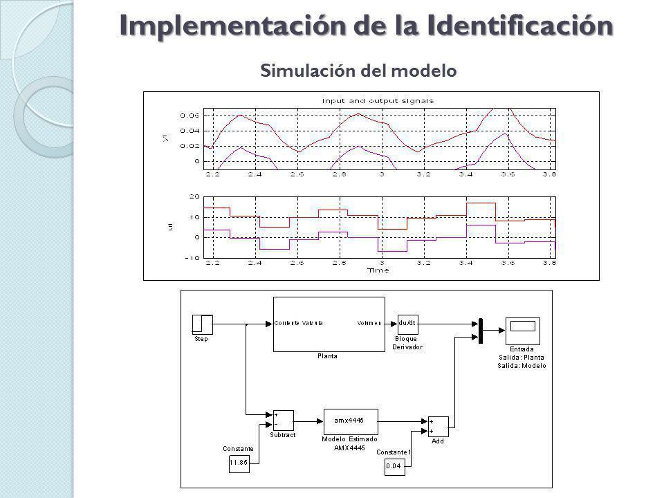 Implementación de la Identificación Simulación del modelo