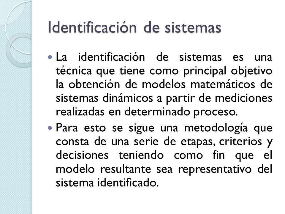 Identificación de sistemas La identificación de sistemas es una técnica que tiene como principal objetivo la obtención de modelos matemáticos de sistemas dinámicos a partir de mediciones realizadas en determinado proceso.