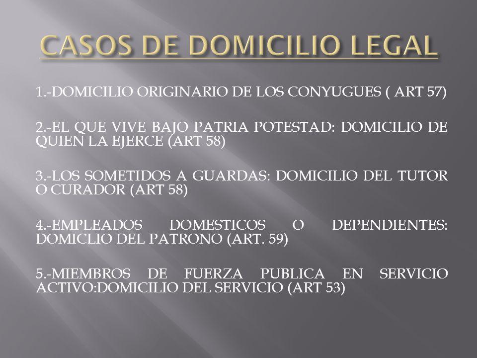 1.-DOMICILIO ORIGINARIO DE LOS CONYUGUES ( ART 57) 2.-EL QUE VIVE BAJO PATRIA POTESTAD: DOMICILIO DE QUIEN LA EJERCE (ART 58) 3.-LOS SOMETIDOS A GUARD