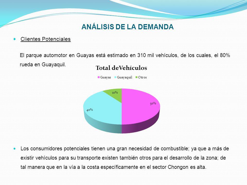 ANÁLISIS DE LA DEMANDA Clientes Potenciales El parque automotor en Guayas está estimado en 310 mil vehículos, de los cuales, el 80% rueda en Guayaquil