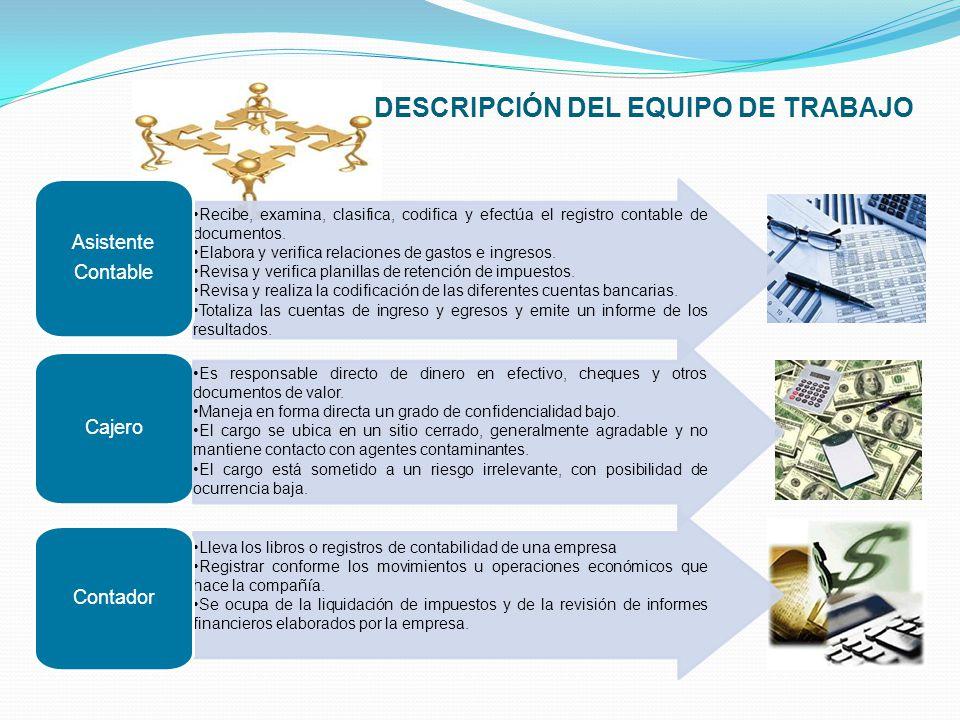DESCRIPCIÓN DEL EQUIPO DE TRABAJO Recibe, examina, clasifica, codifica y efectúa el registro contable de documentos. Elabora y verifica relaciones de