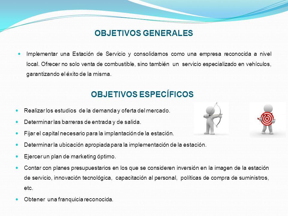 OBJETIVOS GENERALES Implementar una Estación de Servicio y consolidarnos como una empresa reconocida a nivel local. Ofrecer no solo venta de combustib