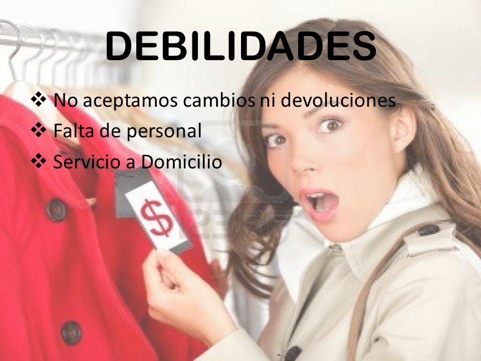 DEBILIDADES No aceptamos cambios ni devoluciones Falta de personal Servicio a Domicilio