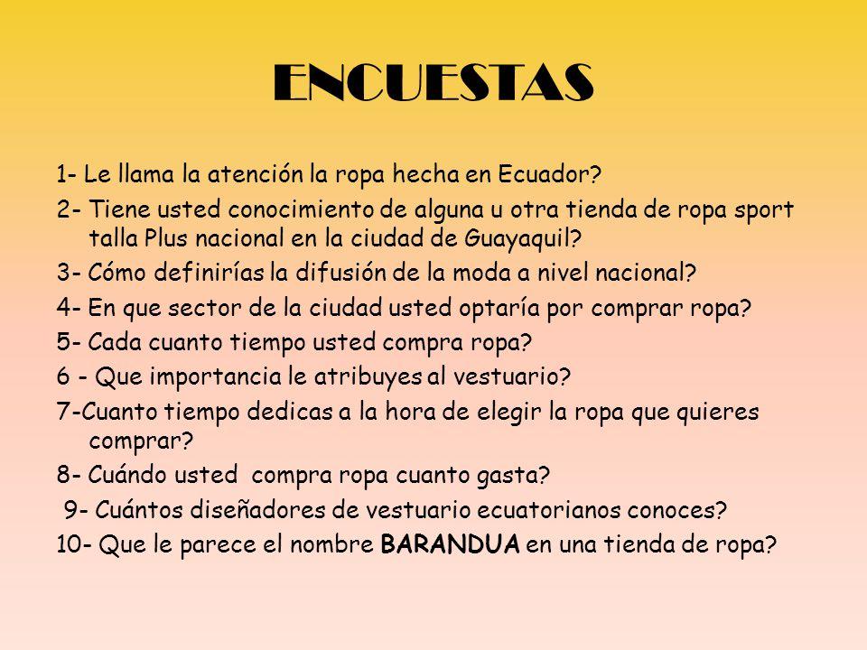 ENCUESTAS 1- Le llama la atención la ropa hecha en Ecuador? 2- Tiene usted conocimiento de alguna u otra tienda de ropa sport talla Plus nacional en l