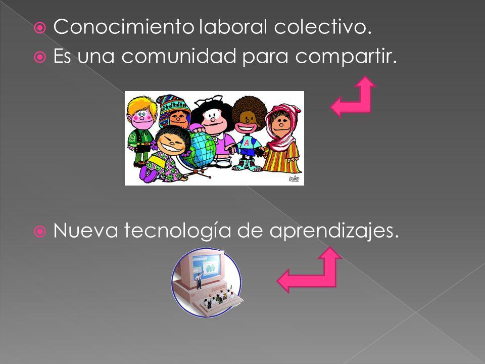 Conocimiento laboral colectivo. Es una comunidad para compartir. Nueva tecnología de aprendizajes.