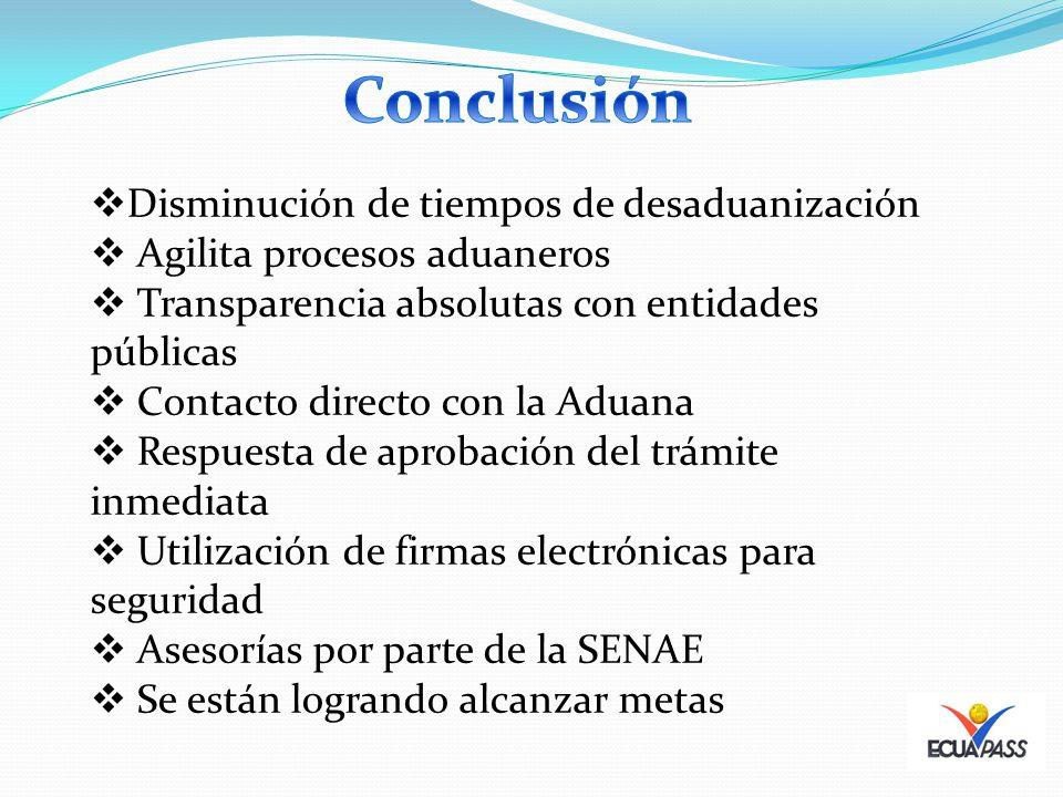 Disminución de tiempos de desaduanización Agilita procesos aduaneros Transparencia absolutas con entidades públicas Contacto directo con la Aduana Res