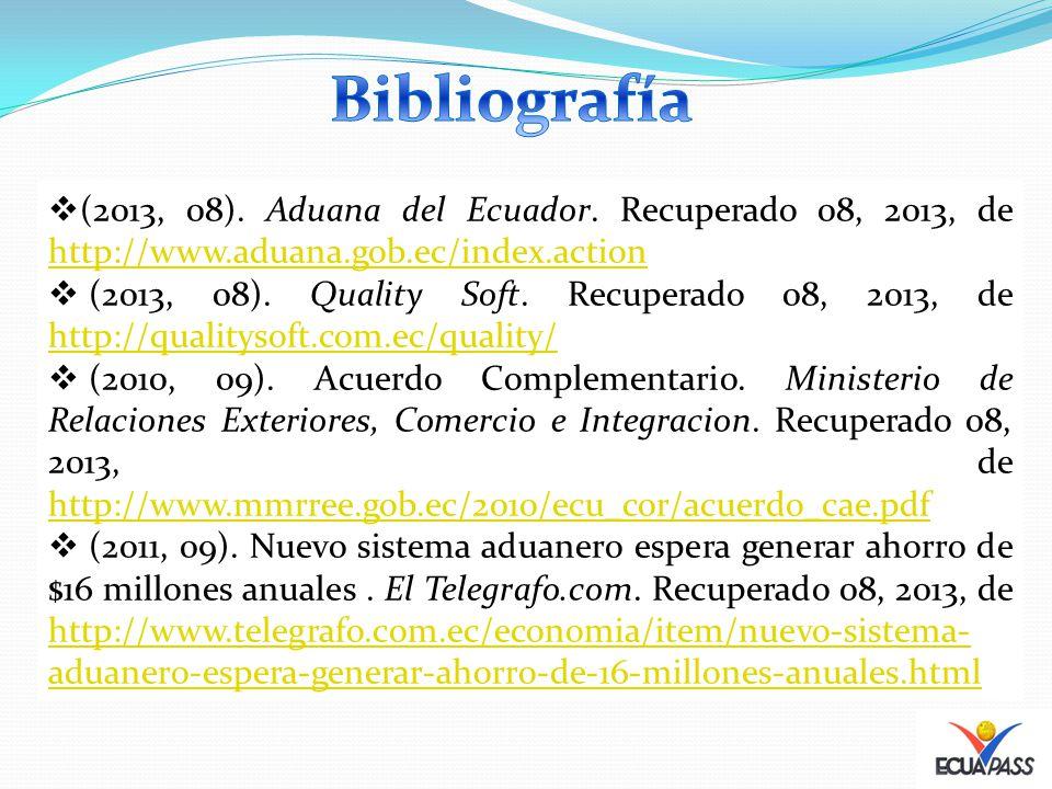 (2013, 08). Aduana del Ecuador. Recuperado 08, 2013, de http://www.aduana.gob.ec/index.action http://www.aduana.gob.ec/index.action (2013, 08). Qualit