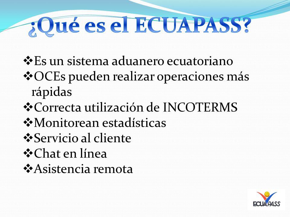 Es un sistema aduanero ecuatoriano OCEs pueden realizar operaciones más rápidas Correcta utilización de INCOTERMS Monitorean estadísticas Servicio al cliente Chat en línea Asistencia remota