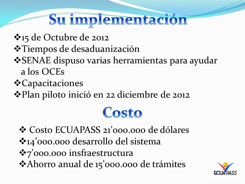 15 de Octubre de 2012 Tiempos de desaduanización SENAE dispuso varias herramientas para ayudar a los OCEs Capacitaciones Plan piloto inició en 22 diciembre de 2012 Costo ECUAPASS 21000.000 de dólares 14000.000 desarrollo del sistema 7000.000 insfraestructura Ahorro anual de 15000.000 de trámites