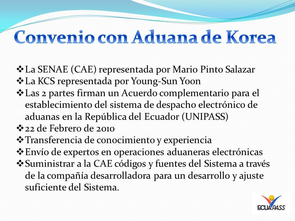 La SENAE (CAE) representada por Mario Pinto Salazar La KCS representada por Young-Sun Yoon Las 2 partes firman un Acuerdo complementario para el establecimiento del sistema de despacho electrónico de aduanas en la República del Ecuador (UNIPASS) 22 de Febrero de 2010 Transferencia de conocimiento y experiencia Envío de expertos en operaciones aduaneras electrónicas Suministrar a la CAE códigos y fuentes del Sistema a través de la compañía desarrolladora para un desarrollo y ajuste suficiente del Sistema.