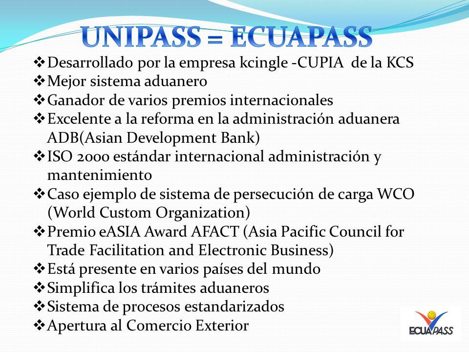 Desarrollado por la empresa kcingle -CUPIA de la KCS Mejor sistema aduanero Ganador de varios premios internacionales Excelente a la reforma en la adm
