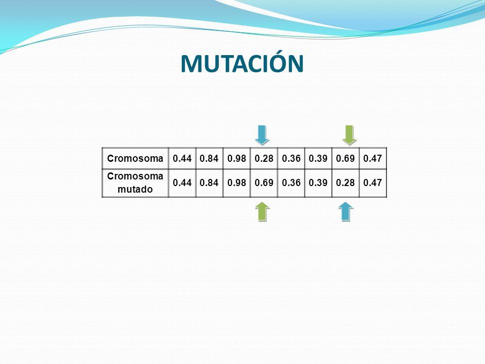 MUTACIÓN Cromosoma0.440.840.980.280.360.390.690.47 Cromosoma mutado 0.440.840.980.690.360.390.280.47