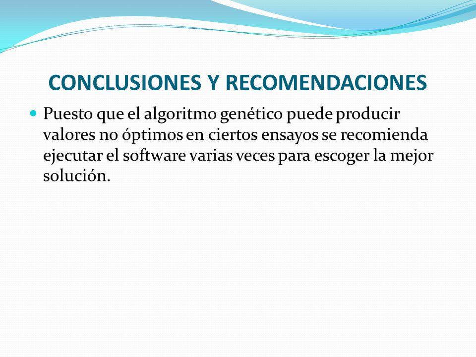 CONCLUSIONES Y RECOMENDACIONES Puesto que el algoritmo genético puede producir valores no óptimos en ciertos ensayos se recomienda ejecutar el software varias veces para escoger la mejor solución.