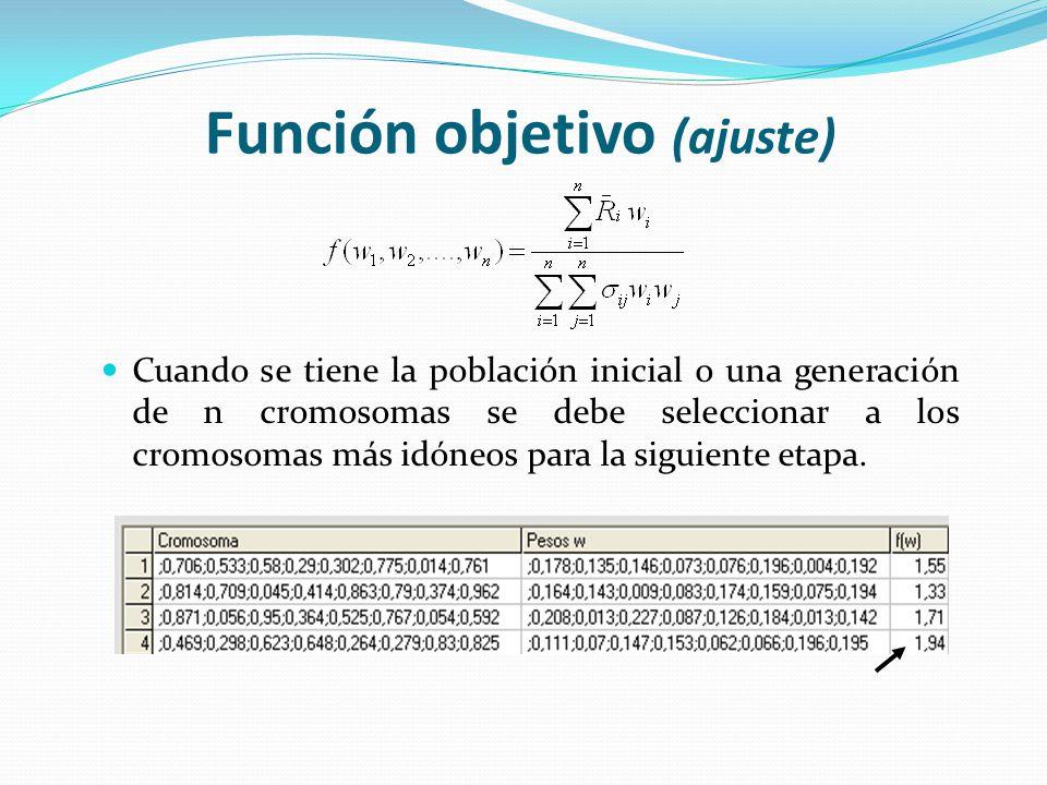 Función objetivo (ajuste) Cuando se tiene la población inicial o una generación de n cromosomas se debe seleccionar a los cromosomas más idóneos para la siguiente etapa.