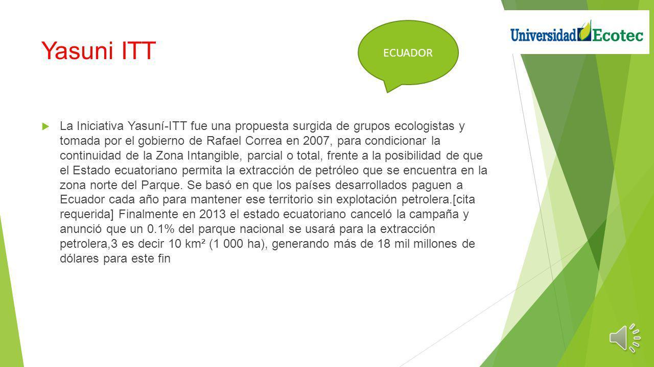 Yasuni ITT La Iniciativa Yasuní-ITT fue una propuesta surgida de grupos ecologistas y tomada por el gobierno de Rafael Correa en 2007, para condicionar la continuidad de la Zona Intangible, parcial o total, frente a la posibilidad de que el Estado ecuatoriano permita la extracción de petróleo que se encuentra en la zona norte del Parque.