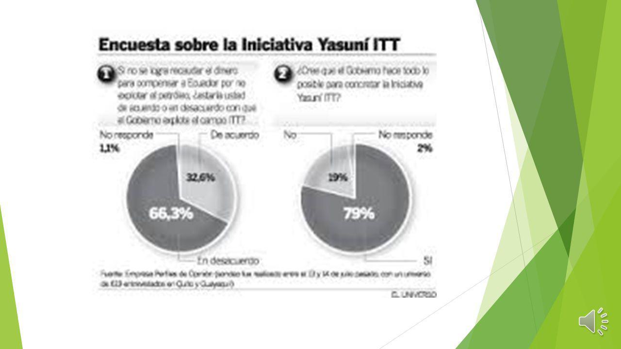 Yasuni ITT La Iniciativa Yasuní-ITT fue una propuesta surgida de grupos ecologistas y tomada por el gobierno de Rafael Correa en 2007, para condiciona