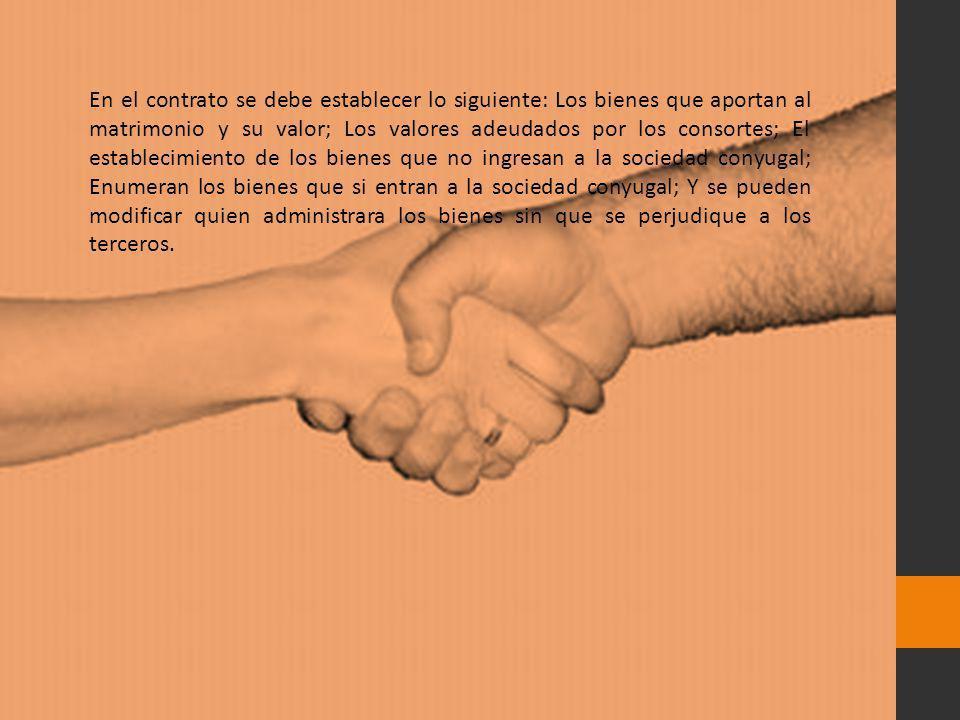En el contrato se debe establecer lo siguiente: Los bienes que aportan al matrimonio y su valor; Los valores adeudados por los consortes; El estableci