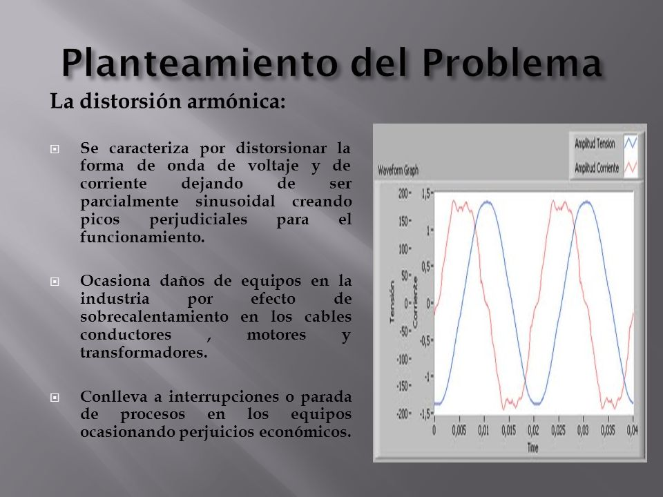 La distorsión armónica: Se caracteriza por distorsionar la forma de onda de voltaje y de corriente dejando de ser parcialmente sinusoidal creando pico