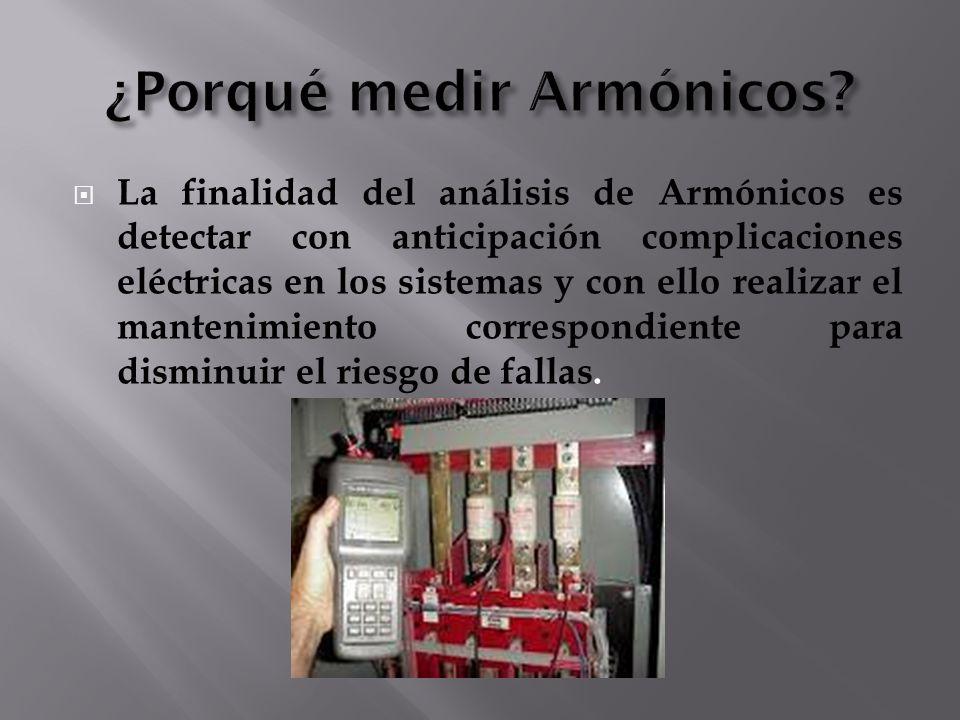 La finalidad del análisis de Armónicos es detectar con anticipación complicaciones eléctricas en los sistemas y con ello realizar el mantenimiento cor