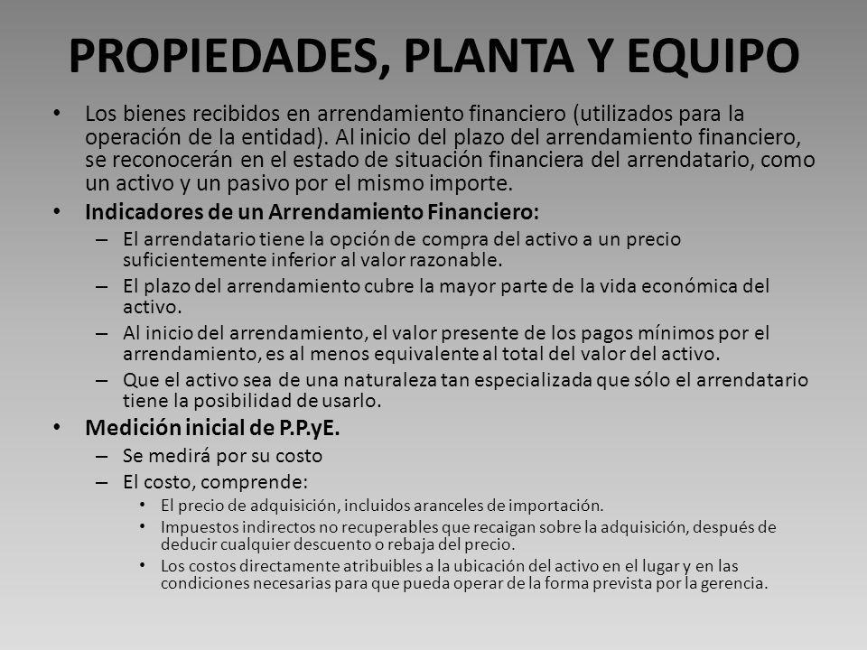 PROPIEDADES, PLANTA Y EQUIPO Los bienes recibidos en arrendamiento financiero (utilizados para la operación de la entidad).