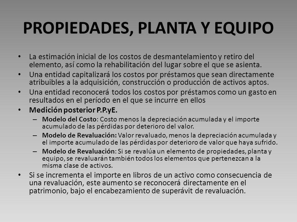 PROPIEDADES, PLANTA Y EQUIPO La estimación inicial de los costos de desmantelamiento y retiro del elemento, así como la rehabilitación del lugar sobre el que se asienta.