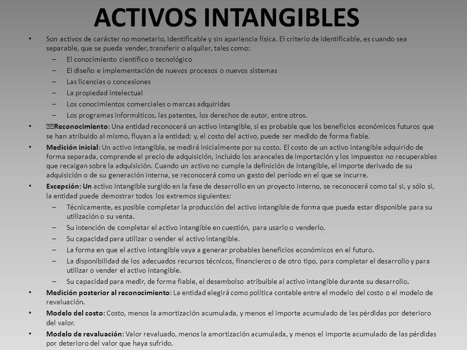 ACTIVOS INTANGIBLES Son activos de carácter no monetario, identificable y sin apariencia física.