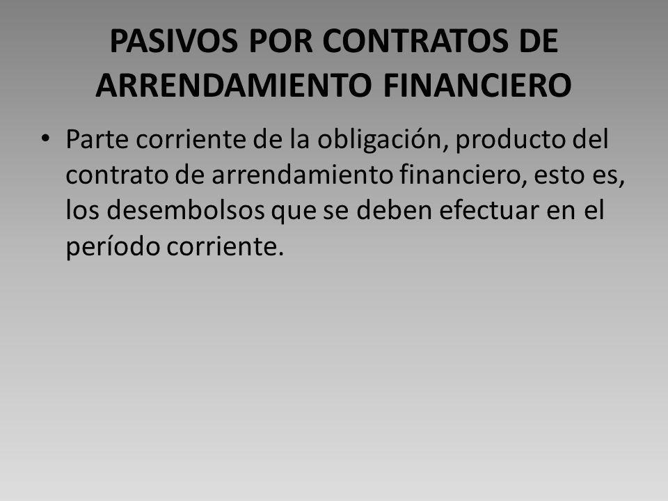 PASIVOS POR CONTRATOS DE ARRENDAMIENTO FINANCIERO Parte corriente de la obligación, producto del contrato de arrendamiento financiero, esto es, los desembolsos que se deben efectuar en el período corriente.