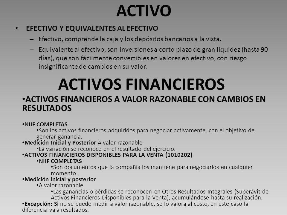 ACTIVO EFECTIVO Y EQUIVALENTES AL EFECTIVO – Efectivo, comprende la caja y los depósitos bancarios a la vista.