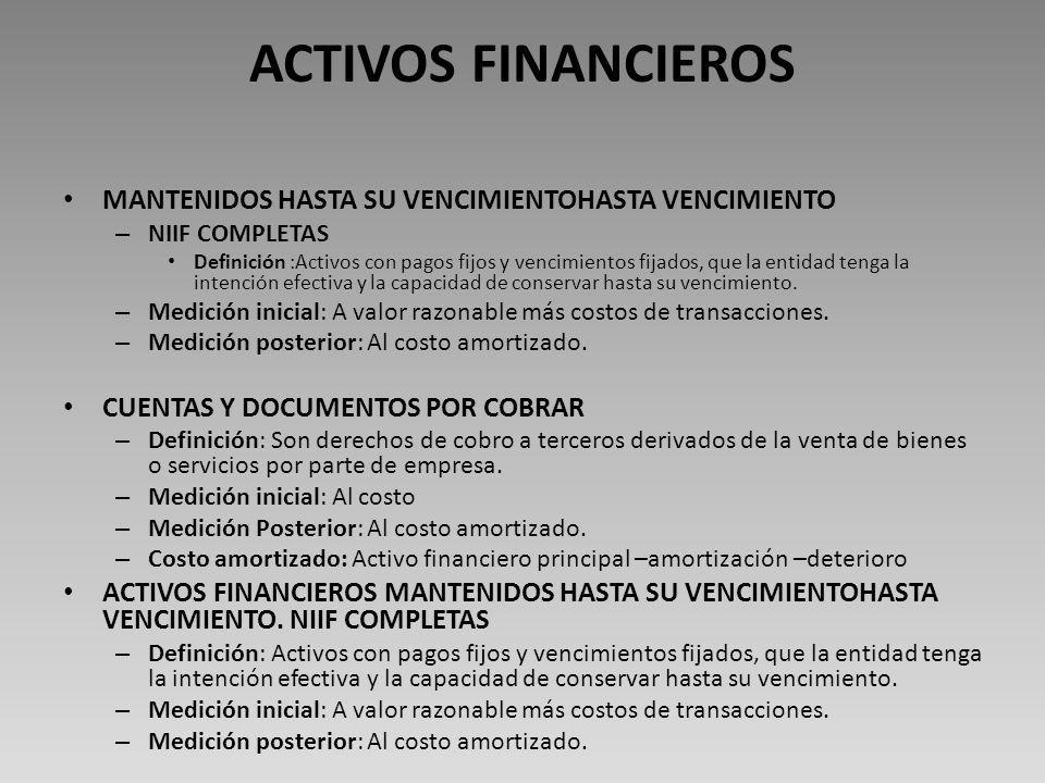 ACTIVOS FINANCIEROS CUENTAS Y DOCUMENTOS POR COBRAR – Definición: Son derechos de cobro a terceros derivados de la venta de bienes o servicios por parte de empresa.