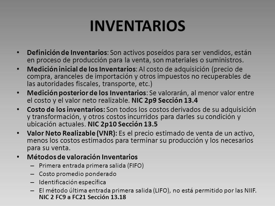 INVENTARIOS Definición de Inventarios: Son activos poseídos para ser vendidos, están en proceso de producción para la venta, son materiales o suministros.