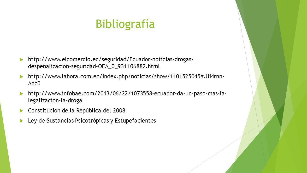Bibliografía http://www.elcomercio.ec/seguridad/Ecuador-noticias-drogas- despenalizacion-seguridad-OEA_0_931106882.html http://www.lahora.com.ec/index
