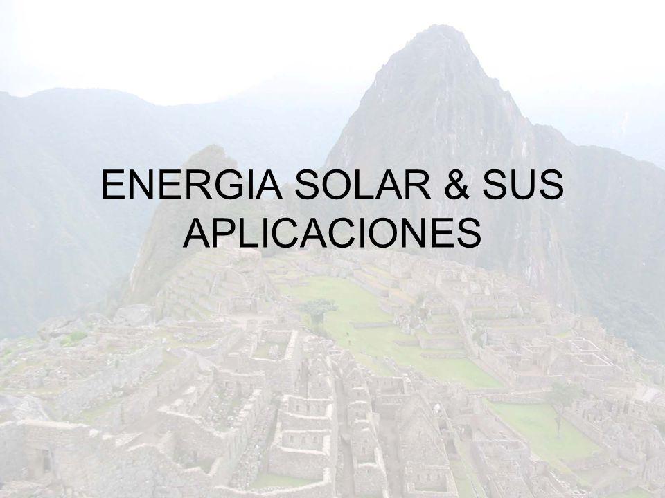 Índice 1.La energía solar Comportamiento del recurso solar Aplicaciones Ventajas y desventajas 2.Tecnologías solares 1.Energía térmica Cocinas solares Secadores Destilador Terma solar Refrigeración por absorción Generación termoeléctrica 2.Energía fotovoltaica
