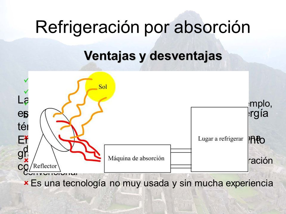 Refrigeración por absorción La técnica de refrigeración por absorción es compleja, sólo diremos que si se aporta energía térmica (calor) por un lado,