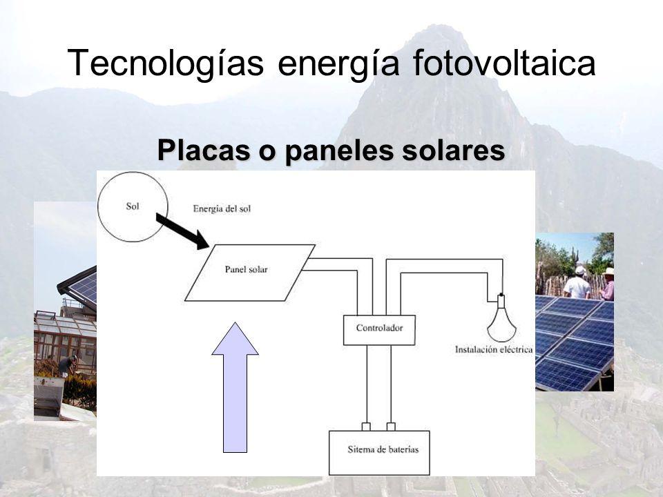Tecnologías energía fotovoltaica Placas o paneles solares