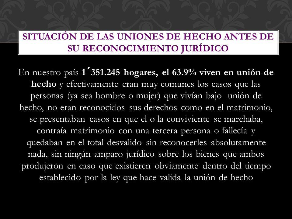 En nuestro país 1´351.245 hogares, el 63.9% viven en unión de hecho y efectivamente eran muy comunes los casos que las personas (ya sea hombre o mujer
