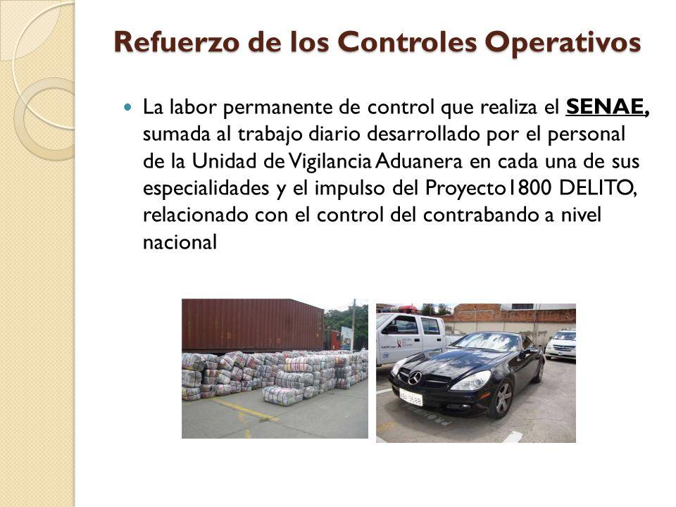 Refuerzo de los Controles Operativos La labor permanente de control que realiza el SENAE, sumada al trabajo diario desarrollado por el personal de la