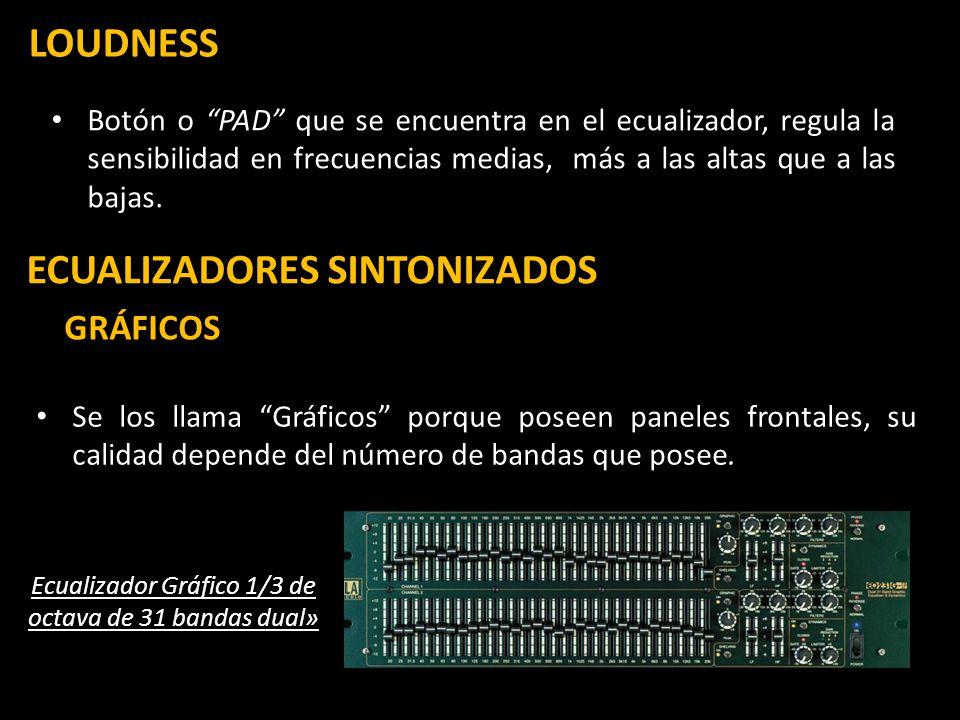 LOUDNESS Botón o PAD que se encuentra en el ecualizador, regula la sensibilidad en frecuencias medias, más a las altas que a las bajas. ECUALIZADORES