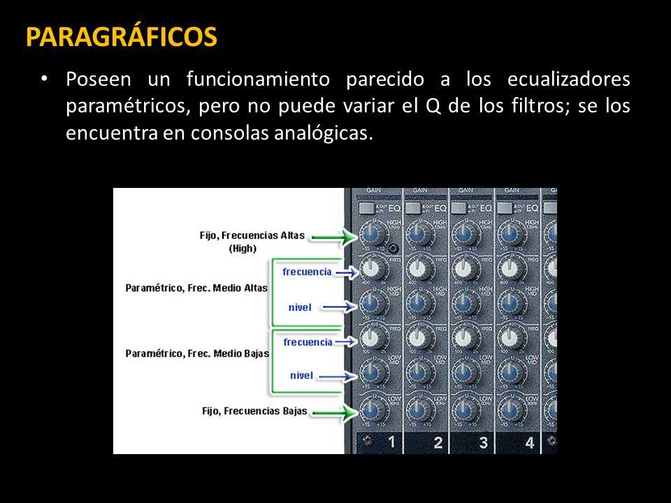 PARAGRÁFICOS ) Poseen un funcionamiento parecido a los ecualizadores paramétricos, pero no puede variar el Q de los filtros; se los encuentra en consolas analógicas.