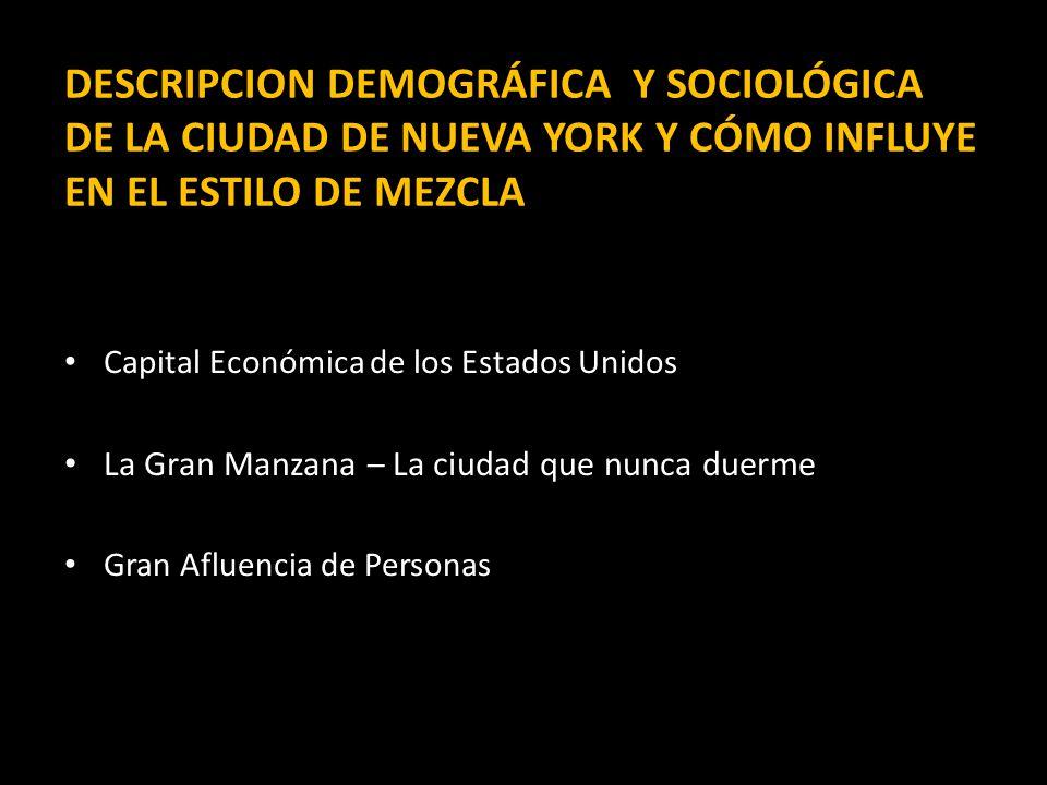 DESCRIPCION DEMOGRÁFICA Y SOCIOLÓGICA DE LA CIUDAD DE NUEVA YORK Y CÓMO INFLUYE EN EL ESTILO DE MEZCLA Capital Económica de los Estados Unidos La Gran