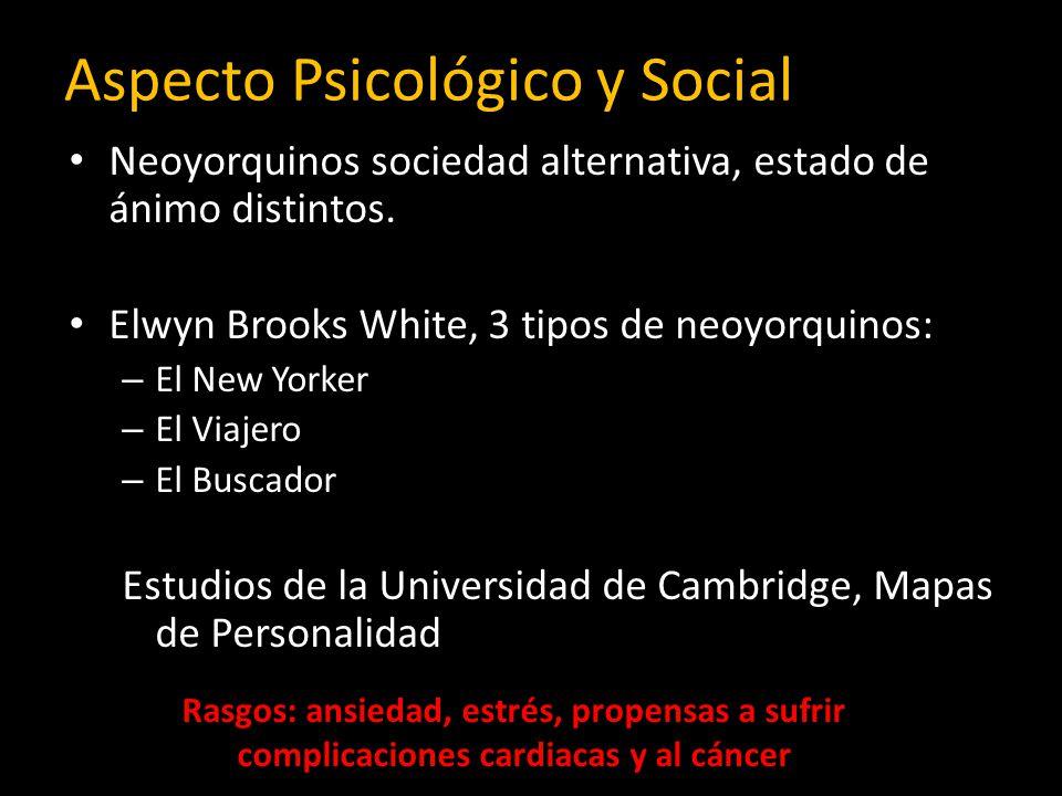 Aspecto Psicológico y Social Neoyorquinos sociedad alternativa, estado de ánimo distintos. Elwyn Brooks White, 3 tipos de neoyorquinos: – El New Yorke