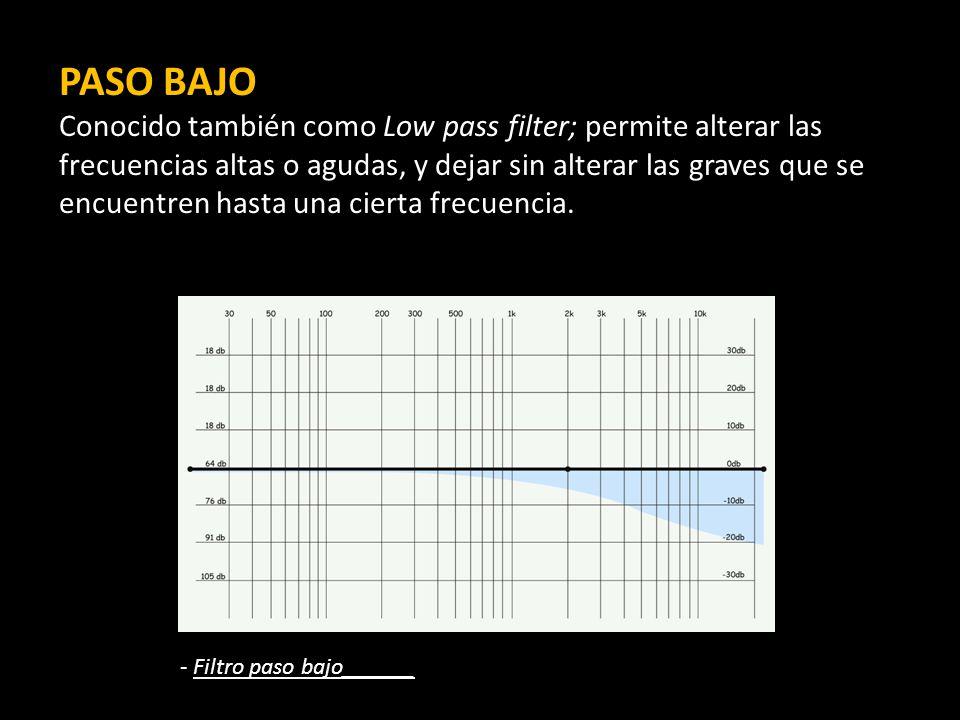 PASO BAJO Conocido también como Low pass filter; permite alterar las frecuencias altas o agudas, y dejar sin alterar las graves que se encuentren hasta una cierta frecuencia.