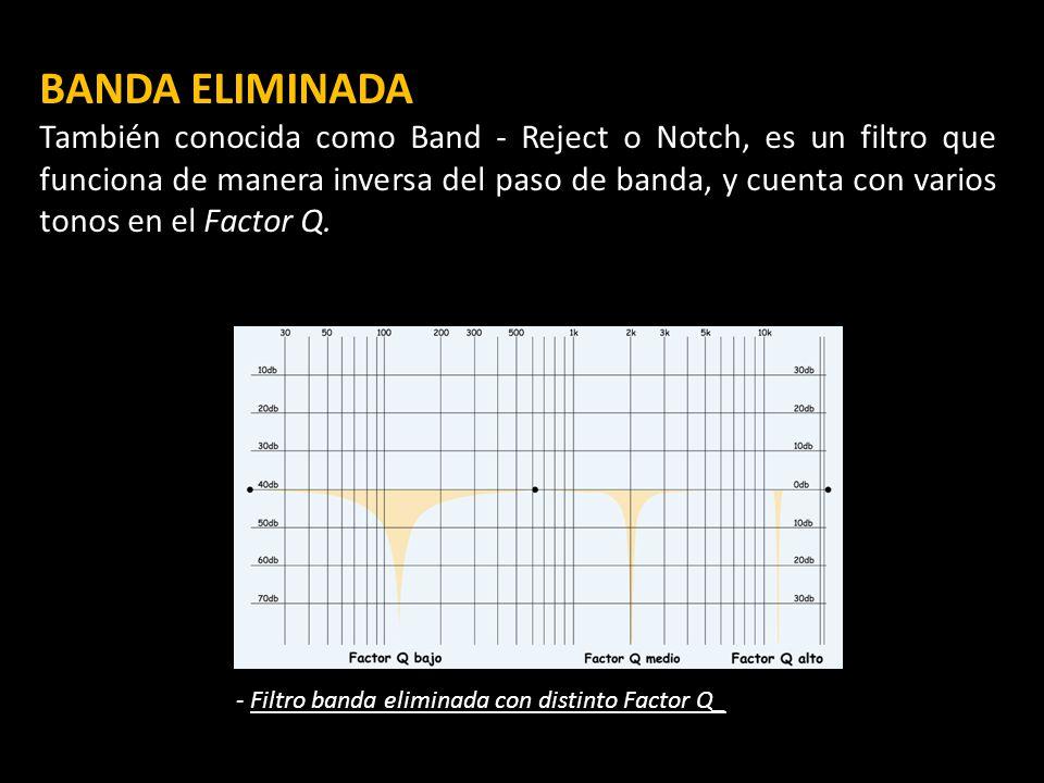 BANDA ELIMINADA También conocida como Band - Reject o Notch, es un filtro que funciona de manera inversa del paso de banda, y cuenta con varios tonos en el Factor Q.