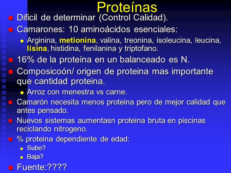 Proteínas Dificil de determinar (Control Calidad). Dificil de determinar (Control Calidad). Camarones: 10 aminoácidos esenciales: Camarones: 10 aminoá