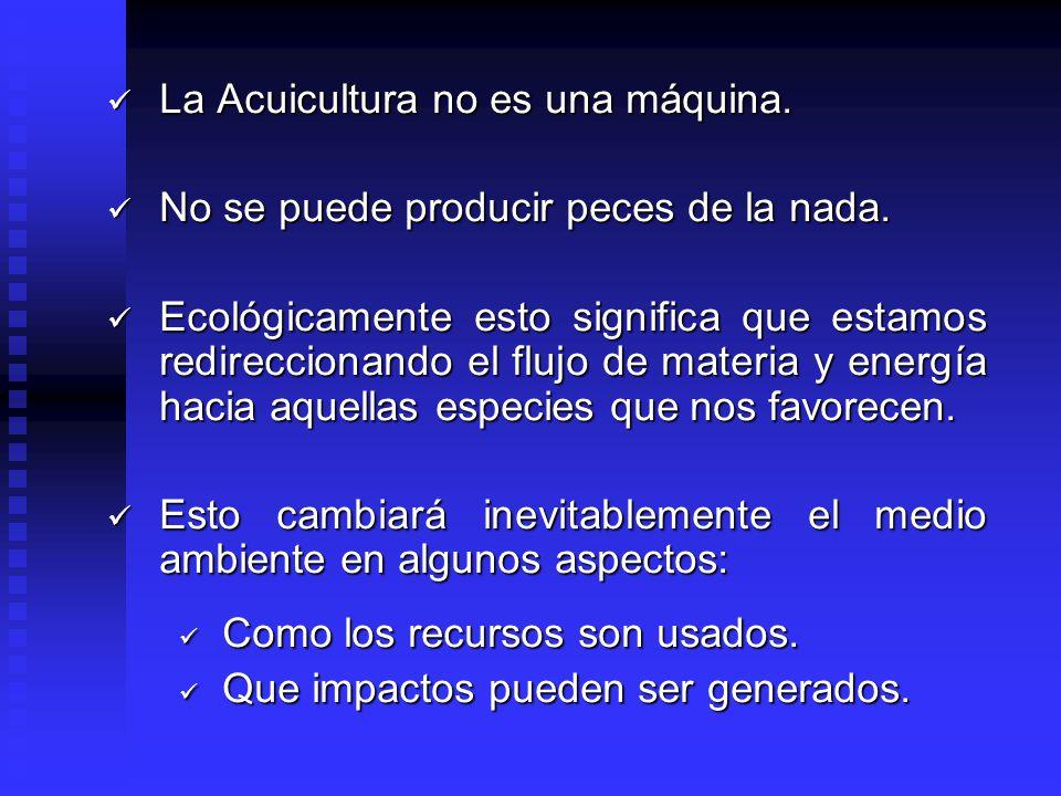 La Acuicultura no es una máquina. La Acuicultura no es una máquina. No se puede producir peces de la nada. No se puede producir peces de la nada. Ecol