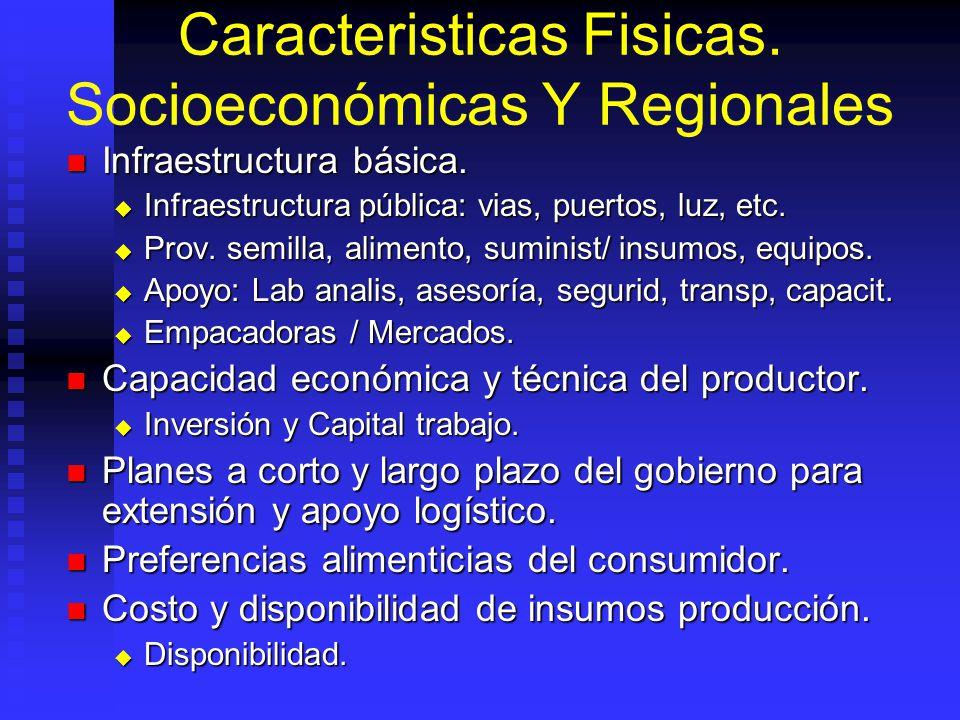 Caracteristicas Fisicas. Socioeconómicas Y Regionales Infraestructura básica. Infraestructura básica. Infraestructura pública: vias, puertos, luz, etc