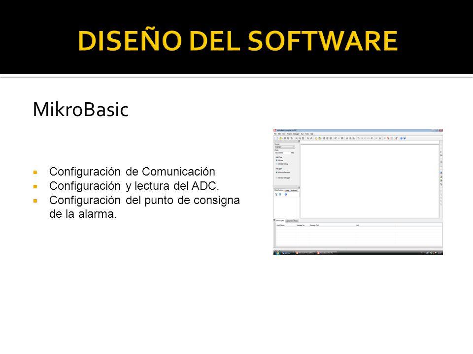 MikroBasic Configuración de Comunicación Configuración y lectura del ADC. Configuración del punto de consigna de la alarma.